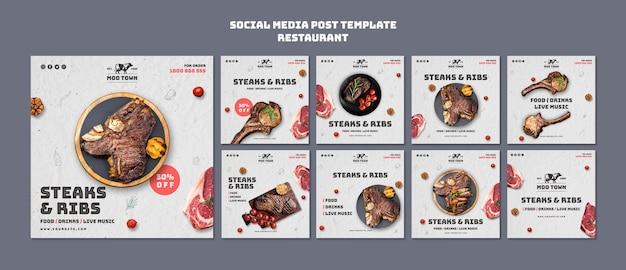 Szablon Restauracji Ze Stekami W Mediach Społecznościowych Darmowe Psd