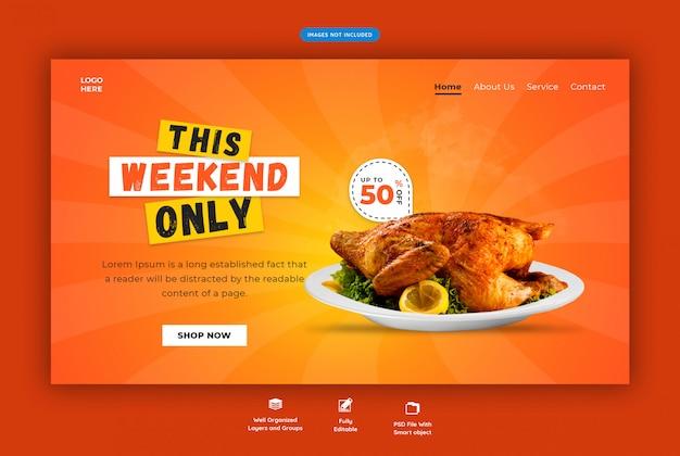 Szablon Sieci Poziomej Restauracja Premium Psd