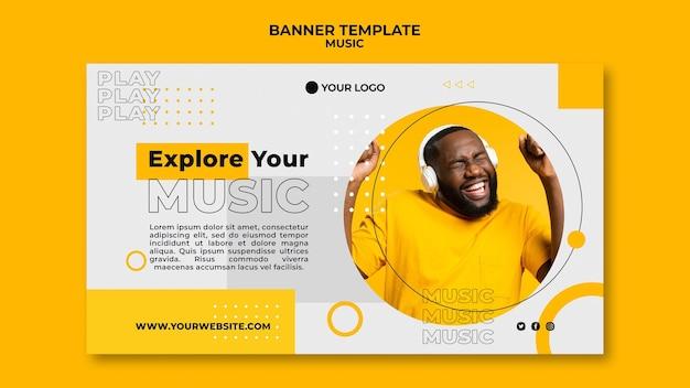 Szablon Sieci Web Banner Człowiek Słuchanie Muzyki Darmowe Psd