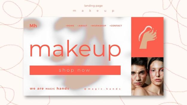 Szablon Strony Docelowej Koncepcji Makijażu Premium Psd