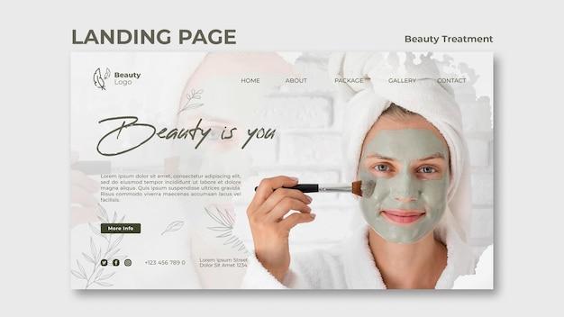 Szablon Strony Docelowej Koncepcji Zabiegów Kosmetycznych Premium Psd