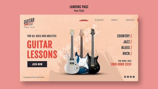 Szablon Strony Docelowej Lekcji Gry Na Gitarze Darmowe Psd
