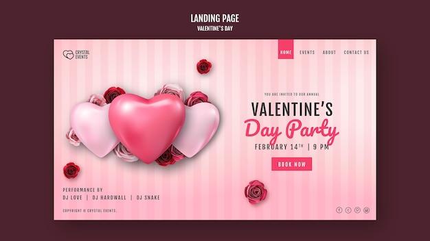 Szablon Strony Docelowej Na Walentynki Z Sercem I Czerwonymi Różami Darmowe Psd