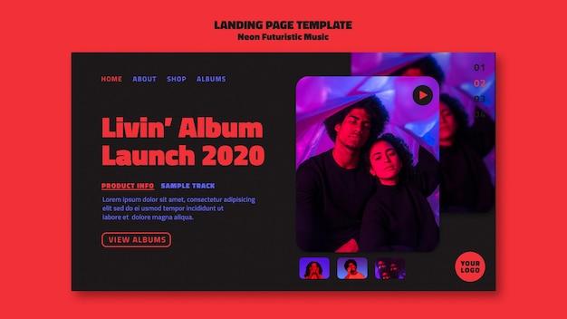 Szablon Strony Docelowej Neonowej Muzyki Futurystycznej Premium Psd