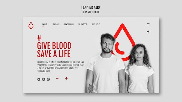 Szablon Strony Docelowej Oddawania Krwi Darmowe Psd