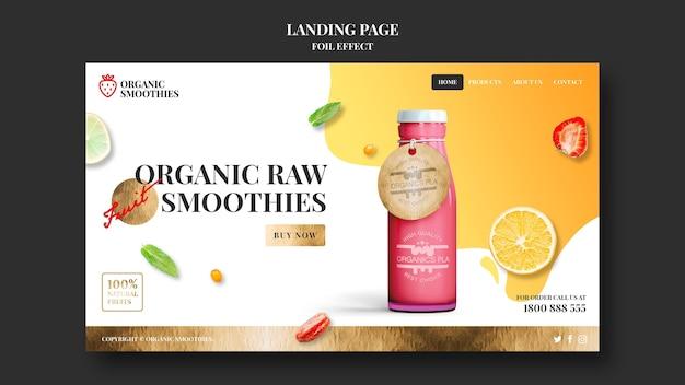 Szablon Strony Docelowej Organicznych Koktajli Premium Psd