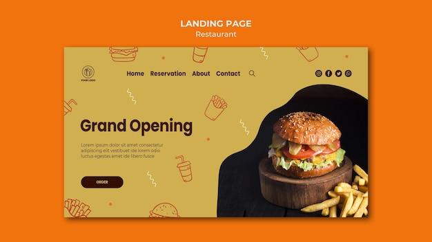 Szablon Strony Docelowej Restauracji Burger Ze Zdjęciem Darmowe Psd