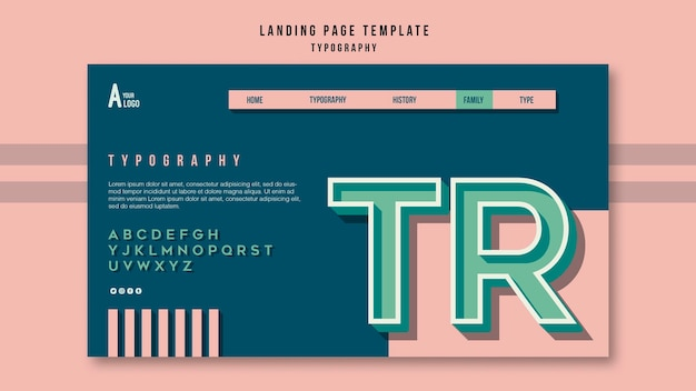 Szablon Strony Docelowej Typografii Premium Psd
