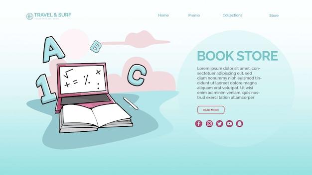 Szablon strony docelowej w book store Premium Psd