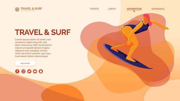 Szablon strony docelowej z koncepcją podróży i surfowania Premium Psd