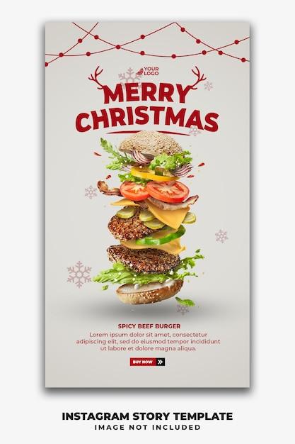 Szablon świąteczny Historie W Mediach Społecznościowych Dla Restauracji Fastfood Menu Burger Premium Psd