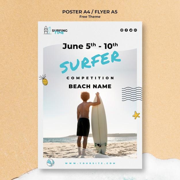 Szablon Szablonu Plakatu Surfer Darmowe Psd