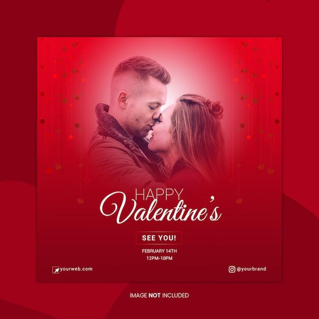 Szablon Transparent Mediów Społecznych Happy Valentine's Premium Psd