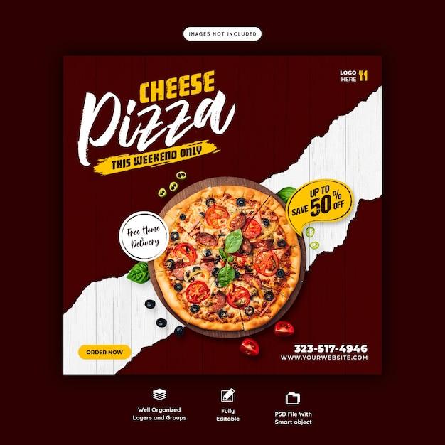 Szablon Transparent Menu żywności I Pizzy Serowej Mediów Społecznościowych Darmowe Psd