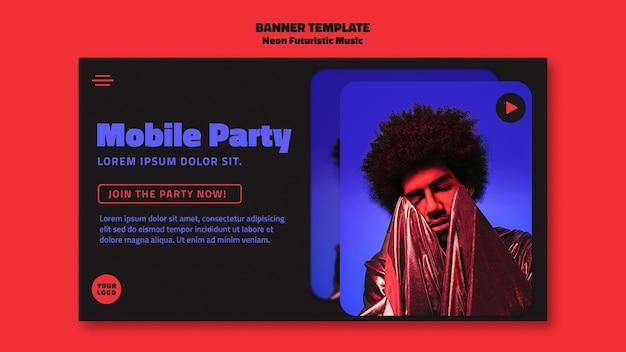 Szablon Transparent Neon Futurystycznej Muzyki Darmowe Psd
