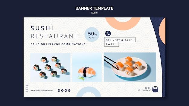 Szablon Transparent Poziomy Dla Restauracji Sushi Darmowe Psd