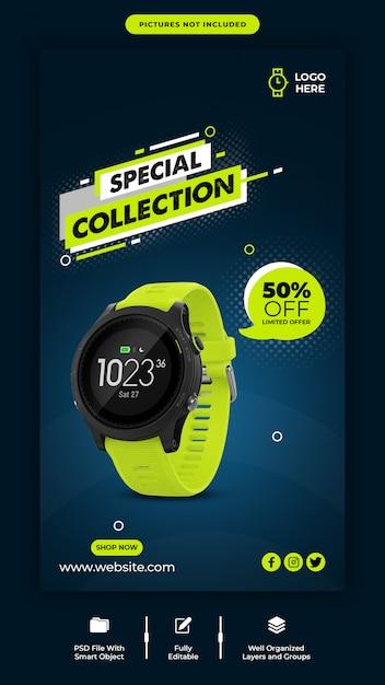 Szablon Transparent Sprzedaż Inteligentny Zegarek Instagram Premium Psd