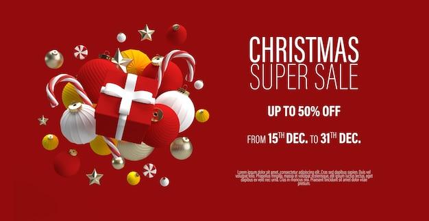 Szablon Transparent świątecznej Sprzedaży Z Prezentem W Centrum I Zabawkami świątecznymi Premium Psd