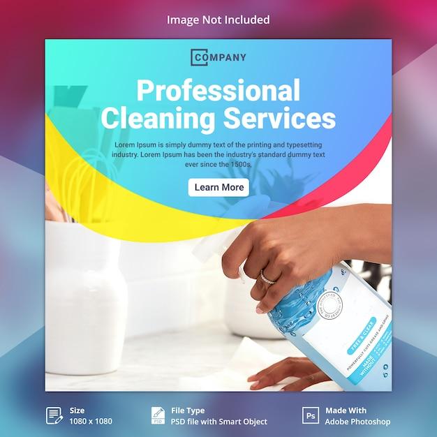 Szablon transparent usługi sprzątania Premium Psd