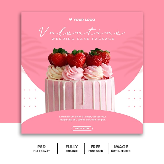 Szablon Transparent Valentine Cake Pink Premium Psd