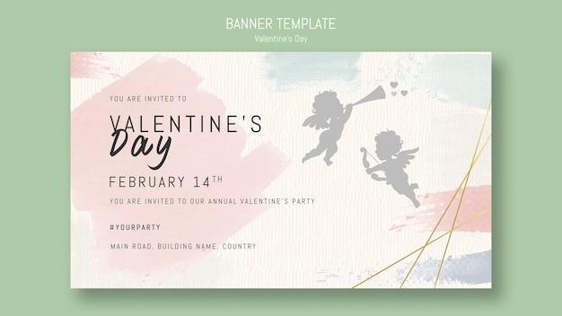 Szablon Transparent Walentynki Z śpiewającym Aniołem Darmowe Psd
