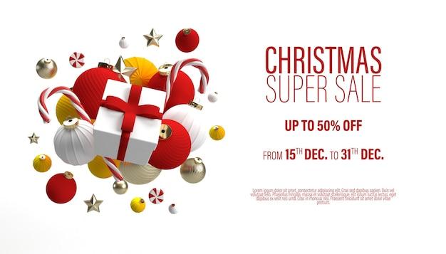 Szablon Transparent White Christmas Sale Z Prezentem W Centrum I Zabawkami świątecznymi Premium Psd