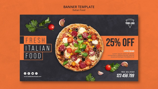 Szablon Transparent Włoskiej żywności Premium Psd