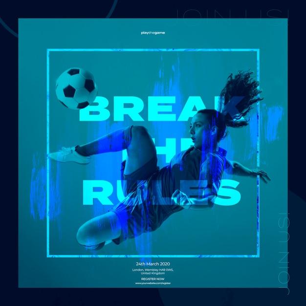 Szablon Transparent Z Wysportowana Kobieta I Piłka Nożna Darmowe Psd