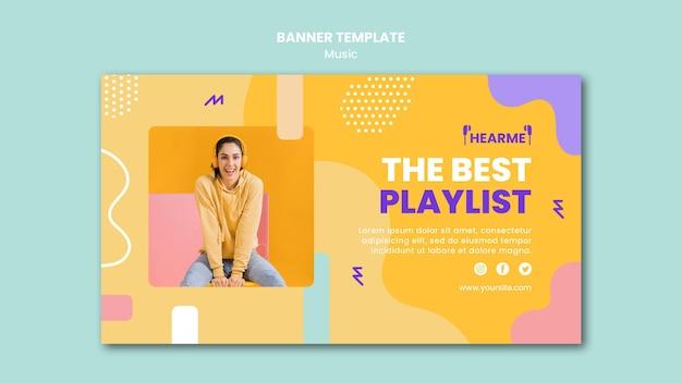 Szablon Transparentu Platformy Muzycznej Premium Psd