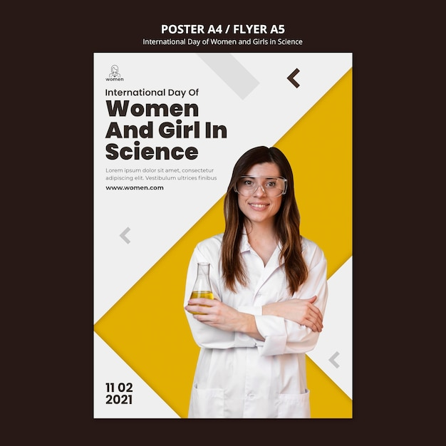 Szablon Ulotki Dla Międzynarodowych Kobiet I Dziewcząt W Dniu Nauki Darmowe Psd