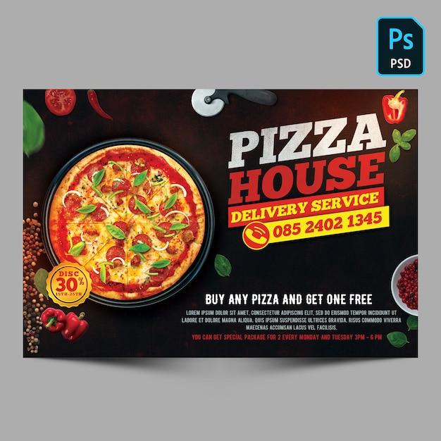 Szablon Ulotki Dostawa Pizzy Premium Psd
