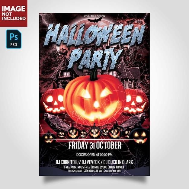 Szablon ulotki halloween party Premium Psd