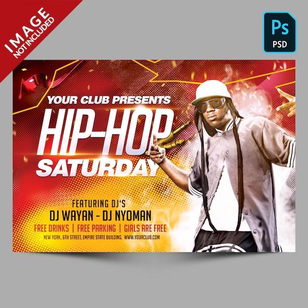 Szablon ulotki hip-hop saturday party Premium Psd