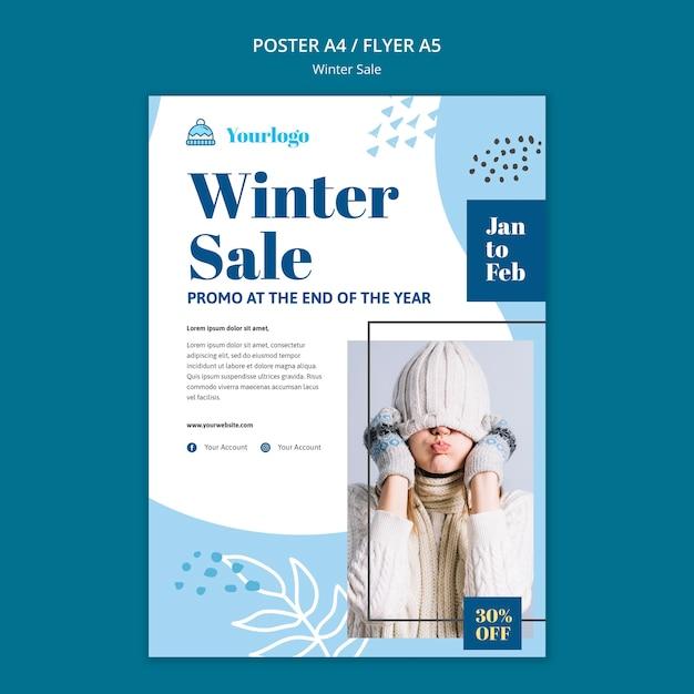 Szablon Ulotki Kolekcji Zimowej Sprzedaży Darmowe Psd