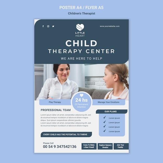 Szablon Ulotki Koncepcja Terapeuty Dla Dzieci Darmowe Psd