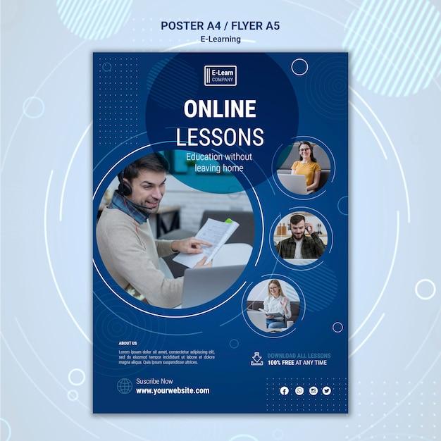 Szablon Ulotki Koncepcji E-learningu Darmowe Psd