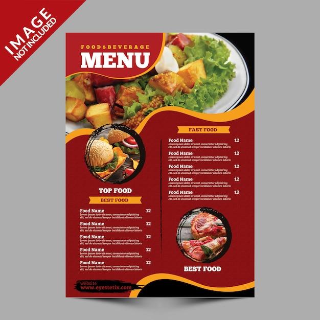 Szablon ulotki menu żywności Premium Psd