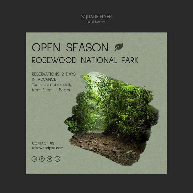 Szablon Ulotki Park Narodowy Rosewood Z Lasu Darmowe Psd