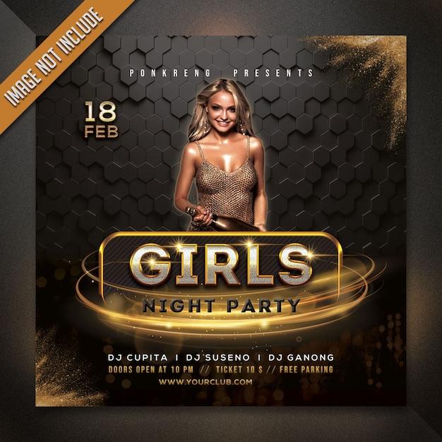 Szablon Ulotki Party Nocy Dziewczyny Premium Psd