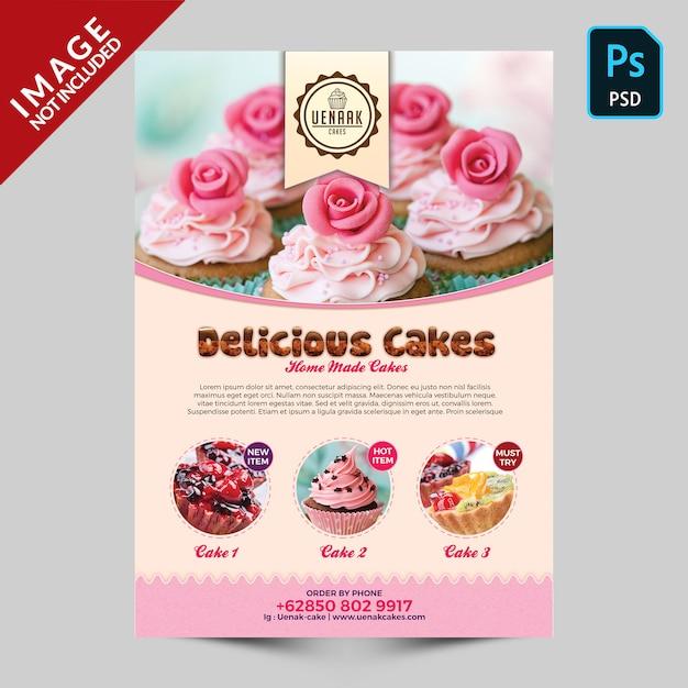 Szablon ulotki promocyjnej ciasto Premium Psd