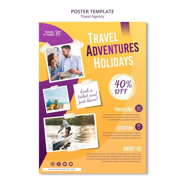 Szablon Ulotki Reklamowej Biura Podróży Premium Psd