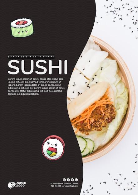 Szablon ulotki restauracji azjatyckiego sushi Darmowe Psd