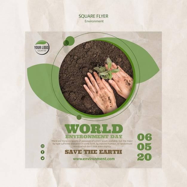 Szablon Ulotki światowy Dzień środowiska Z Roślin I Gleby Darmowe Psd
