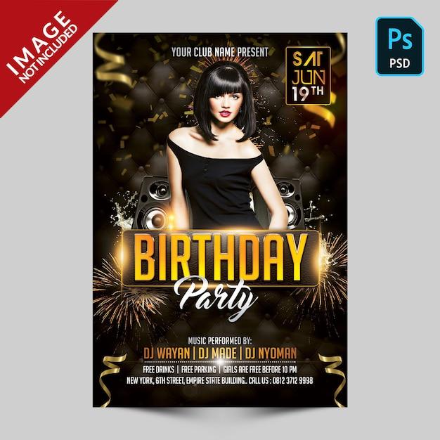 Szablon Ulotki Urodziny Premium Psd