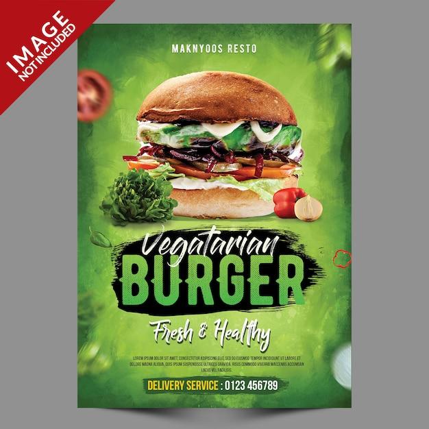Szablon Ulotki Wegetariańskie Burger Premium Psd