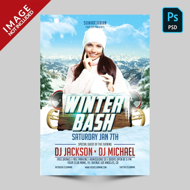Szablon Ulotki Winter Bash Party Premium Psd
