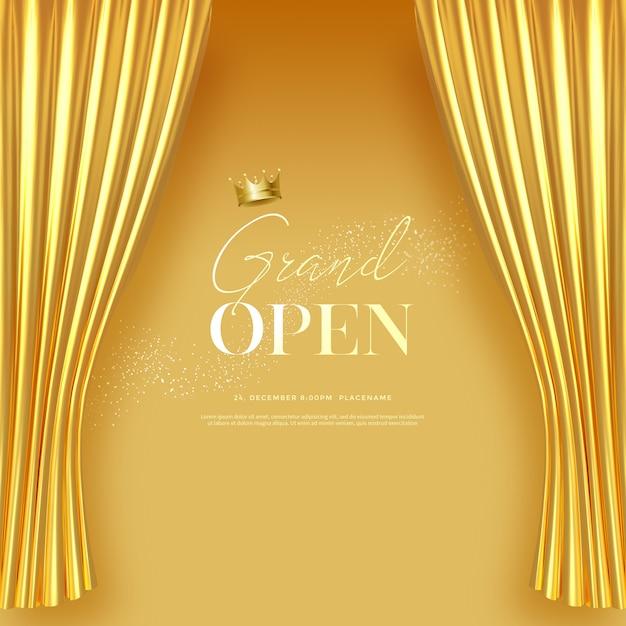 Szablon Wielkiego Otwarcia Tekstu Z Luksusowymi Złotymi Jedwabnymi Aksamitnymi Zasłonami. Premium Psd