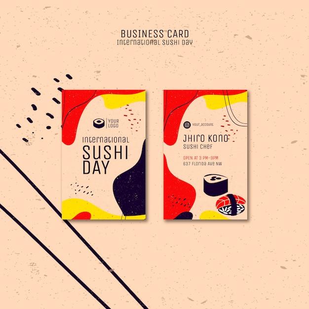Szablon Wizytówki Dzień Sushi Darmowe Psd