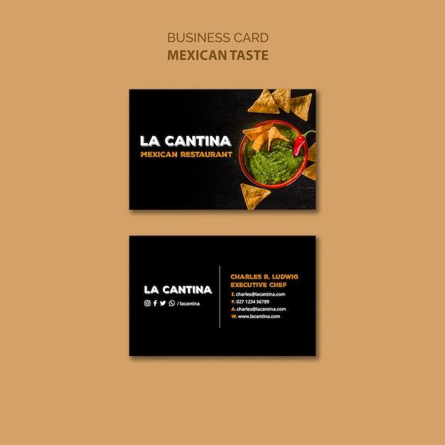 Szablon wizytówki restauracji meksykańskiej Darmowe Psd