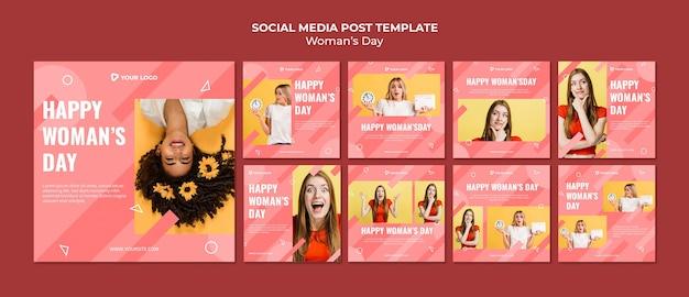 Szablon Wpisów W Mediach Społecznościowych Na Dzień Kobiety Darmowe Psd